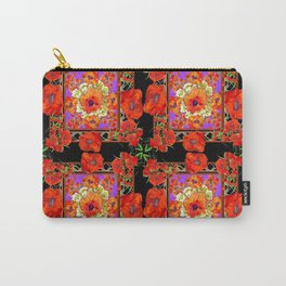 GREY & BLACK ART RED DECO ORANGE-RED POPPIES Carry-All Pouch