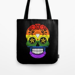 Gay Pride Rainbow Flag Sugar Skull with Roses Tote Bag