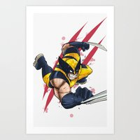 avenger Art Prints featuring Clawed Avenger  by Pink & Nanook