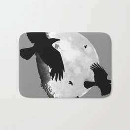 A Murder Of Crows Flying Across The Moon Bath Mat