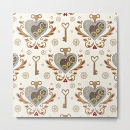 Steampunk Valentine - hearts, cogs and keys pattern Metal Print