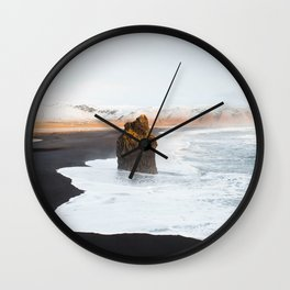 Black Sand Beach, South Iceland Wall Clock