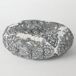 Charcoal Lace Pencil Doodle Floor Pillow