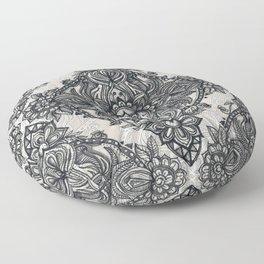 Charcoal Lace Pencil Doodle Floor Pillow