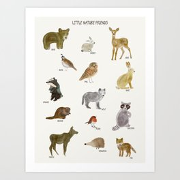 little nature friends Art Print