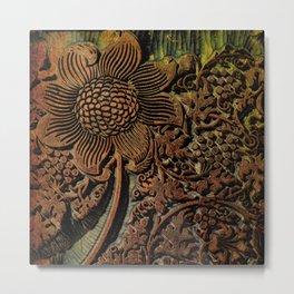Antique Arts & Crafts era Wood Carving, wood block  Metal Print