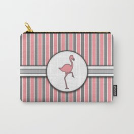 Pink Flamingo Stripes Pattern Design Carry-All Pouch