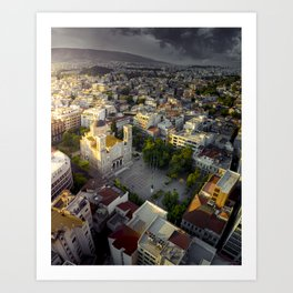 Sunrise over ancient city of Athens Art Print