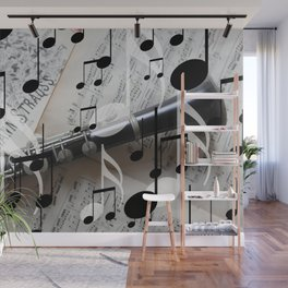 music notes white black clarinet Wall Mural