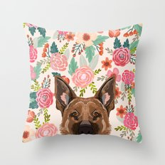 German Shepherd florals flowers spring pet portrait dog art funny german shepherd painting art Throw Pillow