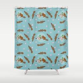 Forbidden Love Duck and Beaver - Blue Shower Curtain