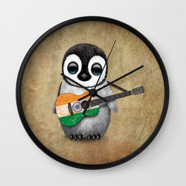Baby Penguin Playing Indian Flag Acoustic Guitar Wall Clock
