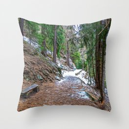 Snowy path in the woods on the Alps in winter Throw Pillow