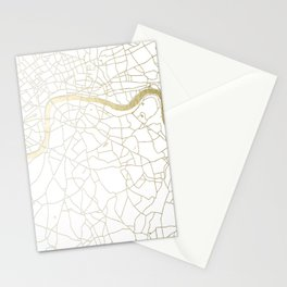 White on Yellow Gold London Street Map Stationery Cards
