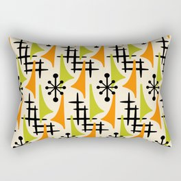 Mid Century Modern Atomic Wing Composition Orange and Chartreuse Rectangular Pillow