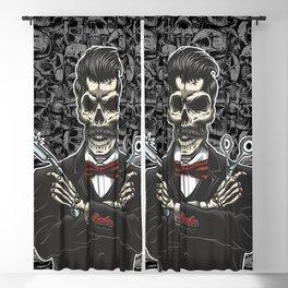 Barber Skull Gentlemen Blackout Curtain