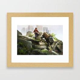 A boy and his dog Framed Art Print