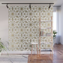 Modern geometric gold stars pattern on white Wall Mural