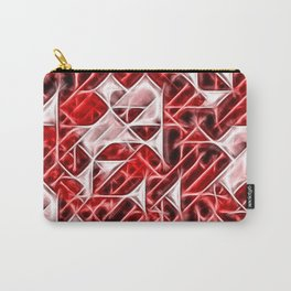 Tetris Nostalgy - classic themed geometric bricks pattern, red, white, pink tones triangles, blocks Carry-All Pouch