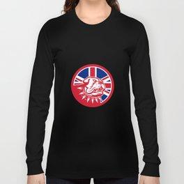 British Bulldog Head Union Jack Flag Icon Long Sleeve T-shirt
