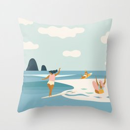 Wave Sisters Throw Pillow