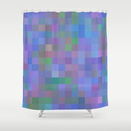 geometric square pixel pattern abstract in purple blue pink Shower Curtain