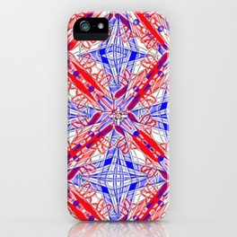Tile #3 Blue & Red 4 Pointed Star on White iPhone Case