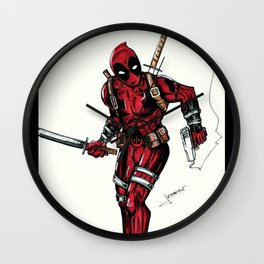Wade Wilson. Merc with a mouth Wall Clock