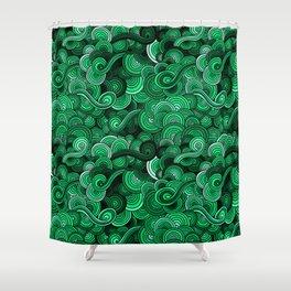 Swirly Emerald Green Shower Curtain