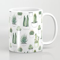 cacti Mugs featuring watercolour cacti and succulent by Vicky Webb