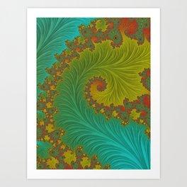 Velvet Crush - Teal and Tangerine Art Print