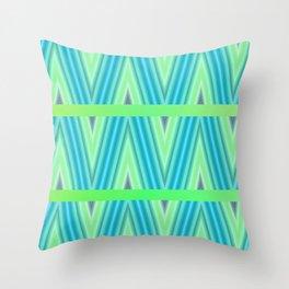 Zig Zag pattern light blue and green 1 Throw Pillow