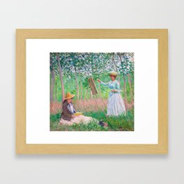 Claude Monet - In the Woods at Giverny, Blanche Hoschedé at Her Easel with Suzanne Hoschedé Reading Framed Art Print