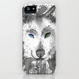 black and white : wolf iPhone Case