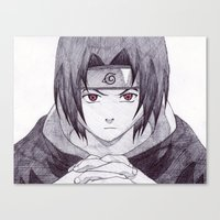 sasuke Canvas Prints featuring Sasuke Uchiha by DeMoose_Art
