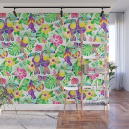Tropical Toucans in Watercolor White Wall Mural
