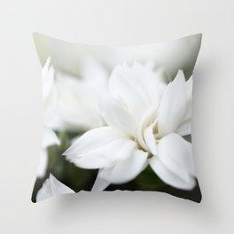 Snow White Flowers on a Dark Background #decor #society6 #buyart Throw Pillow