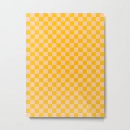 Deep Peach Orange and Amber Orange Checkerboard Metal Print