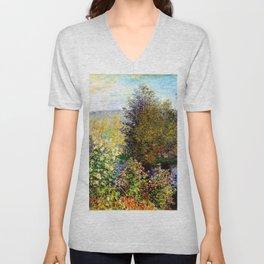 Claude Monet : A Corner of the Garden at Montgeron Unisex V-Neck