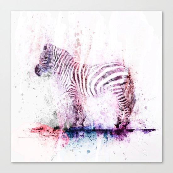 Watercolor Wash Zebra Canvas Print