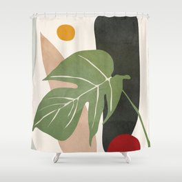 Abstract Monstera Leaf Shower Curtain