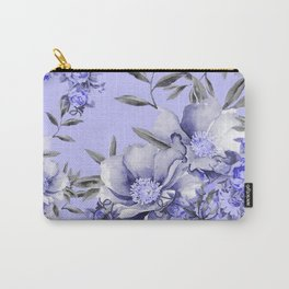 Periwinkle and Gray Floral Carry-All Pouch