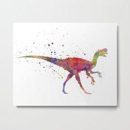 Oviraptor dinosaur in watercolor Metal Print