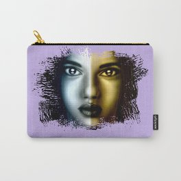 two sides of a woman. silver and gold. digital portrait of a beautiful young woman Carry-All Pouch