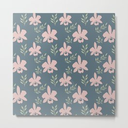 Floral Neck Gator Coral Orchid Pattern Metal Print