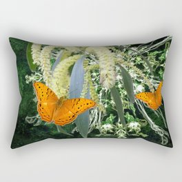 butterflies and wattle with green abstract bouquet Rectangular Pillow