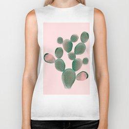 Watercolored Cactus on Pink Biker Tank