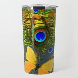 GREEN PEACOCK FEATHERS YELLOW BUTTERFLIES Travel Mug