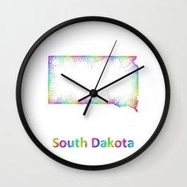 Rainbow South Dakota map Wall Clock