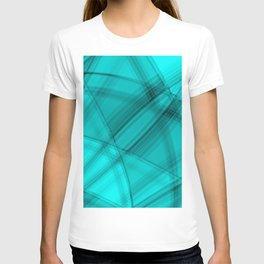Angular strokes with aquamarine diagonal lines from intersecting bright stripes of light.  T-shirt